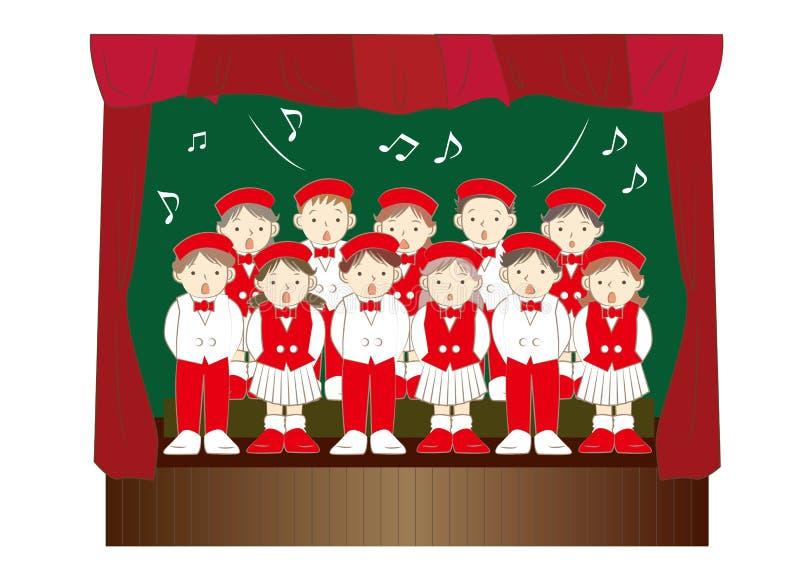 Grupo do coro das crianças - eventos da música do Natal ilustração do vetor