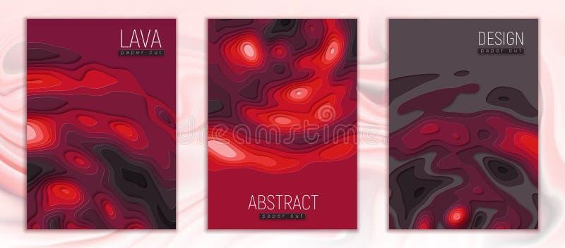Grupo do corte do papel da lava ilustração royalty free