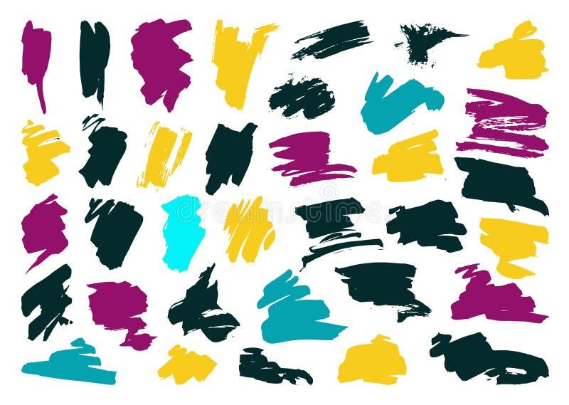 Grupo do curso da escova do preto do vetor da pena da tinta do Grunge ilustração stock
