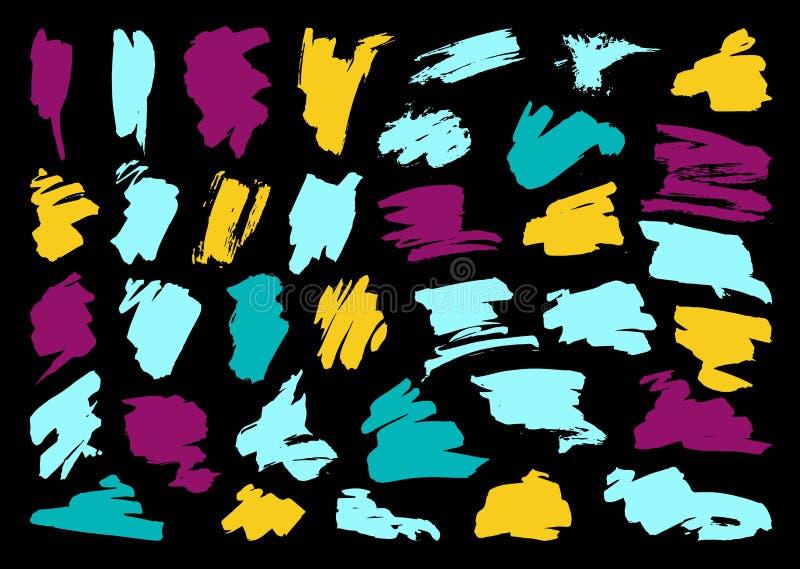 Grupo do curso da escova do preto do vetor da pena da tinta do Grunge ilustração royalty free