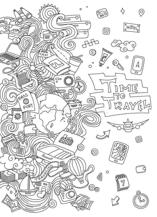 Grupo do curso do mundo O vetor simples tirado mão esboça a coleção Símbolos populares do turismo e da viagem - ilustração do vetor