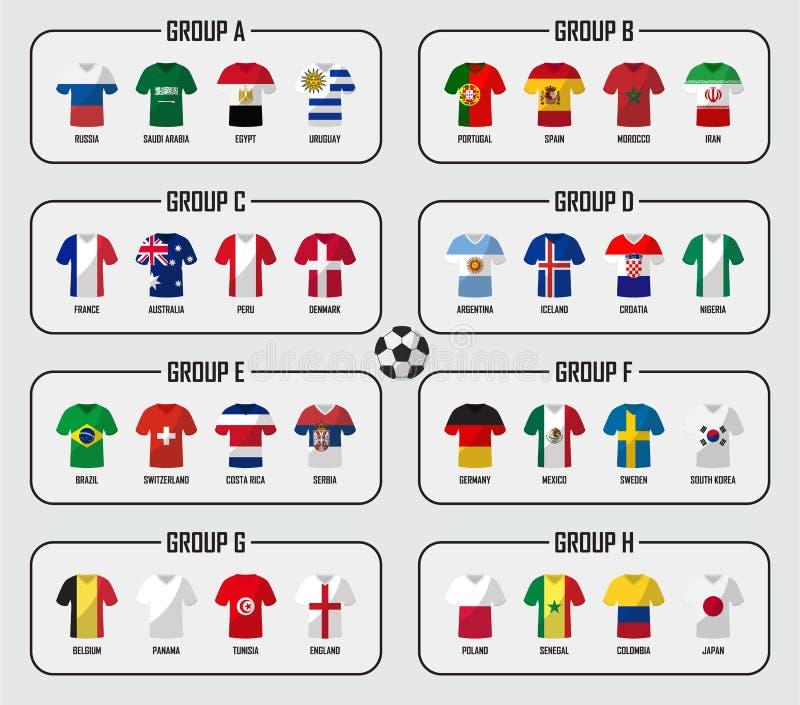 Grupo do grupo da equipe do copo 2018 do futebol Jogadores de futebol com uniforme do jérsei e as bandeiras nacionais Vetor para  ilustração do vetor