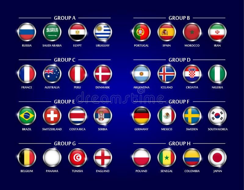Grupo do grupo da equipe do copo 2018 do futebol ou do futebol O vidro do círculo cobriu o projeto da bandeira nacional com a bor ilustração stock