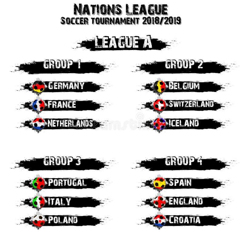 Grupo do grupo da equipe de futebol Liga das nações ilustração do vetor