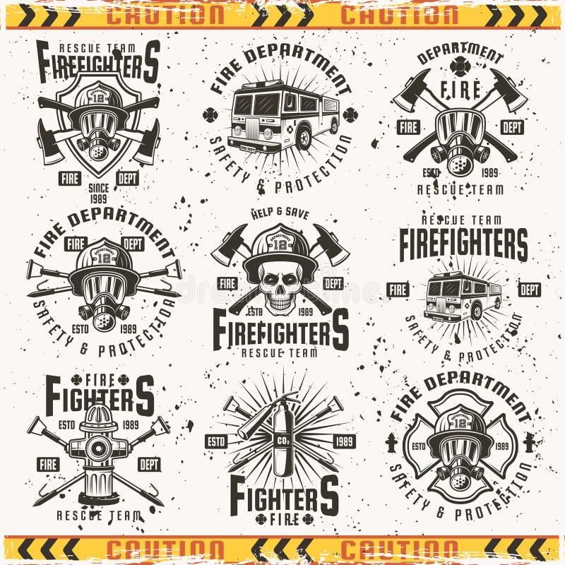Grupo do departamento dos bombeiros de emblemas do vintage do vetor ilustração do vetor