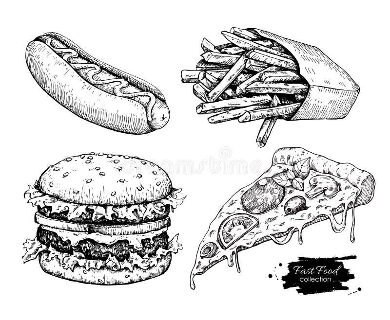 Grupo do desenho do fast food do vintage do vetor foto de stock