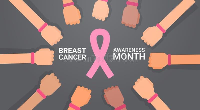 Grupo do dia do câncer da mama de mãos com o cartão cor-de-rosa do cartaz da prevenção da conscientização da doença das fitas ilustração stock