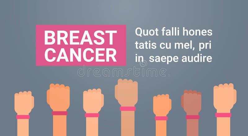 Grupo do dia do câncer da mama de mãos com o cartão cor-de-rosa do cartaz da prevenção da conscientização da doença das fitas ilustração do vetor