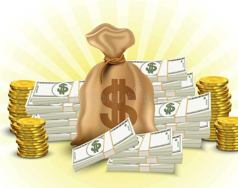 Grupo do dinheiro Papel moeda, pilha de moedas de ouro, saco de dólares ilustração stock
