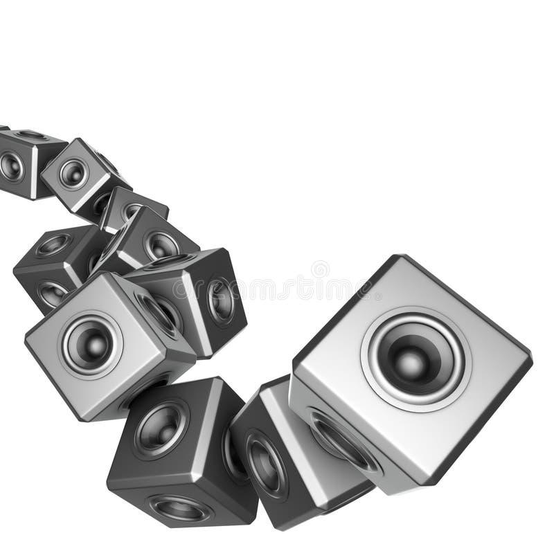 grupo do disco-jóquei do DJ do sumário do partido do sistema de som 3d ilustração stock
