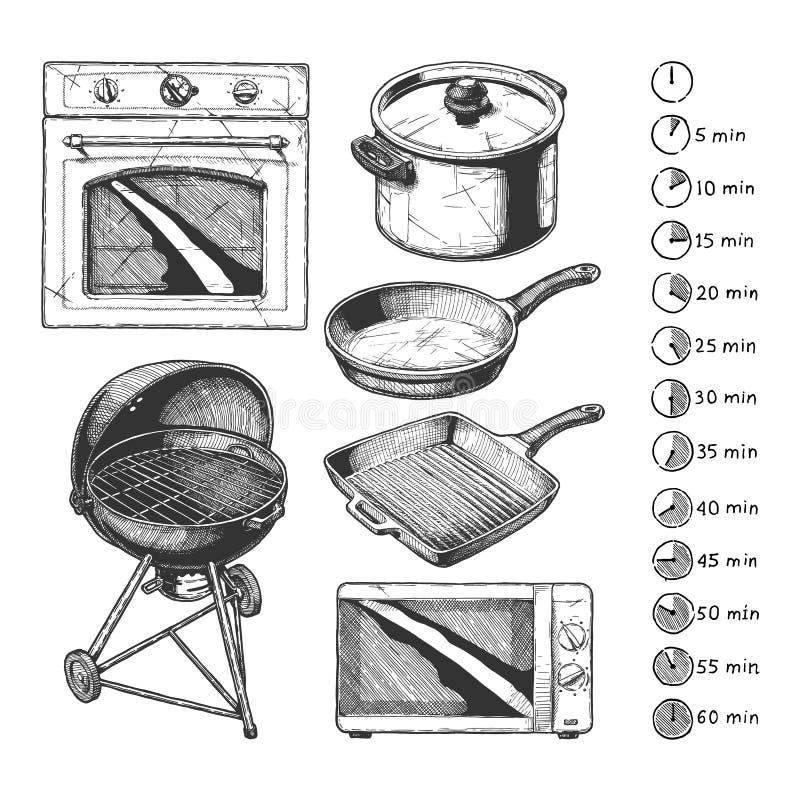 Grupo do dispositivo de cozinha ilustração do vetor