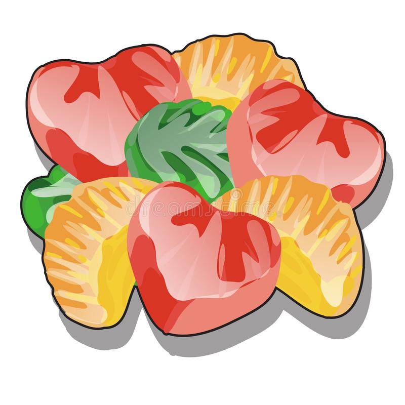 Grupo do doce de fruta moldado com uma superfície lustrosa, geleia de fruto transparente colorida isolada no fundo branco SABOROS ilustração do vetor