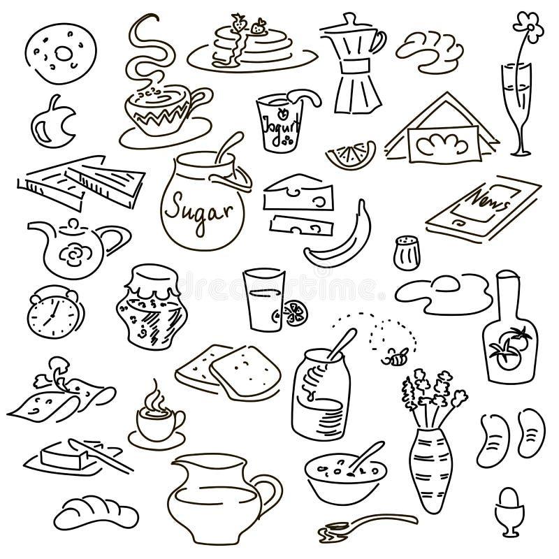 Grupo do doodel do café da manhã ilustração royalty free