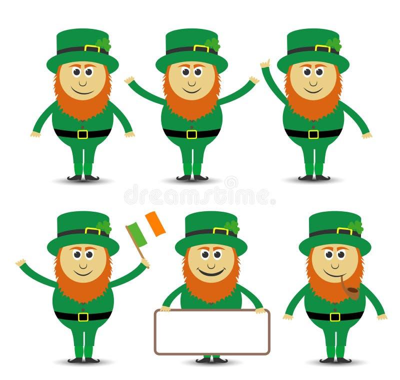 Grupo do duende do dia do ` s de St Patrick ilustração royalty free