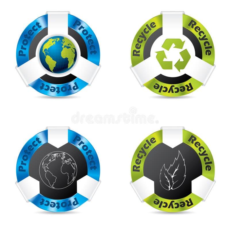 Grupo do emblema de Eco ilustração do vetor