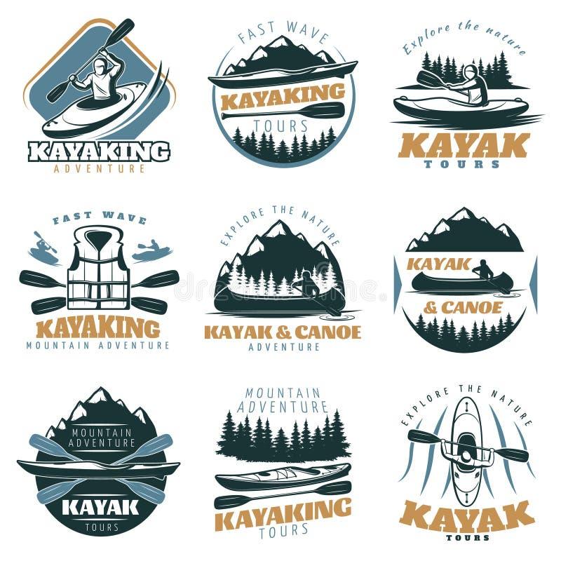 Grupo do emblema do caiaque da canoa ilustração do vetor