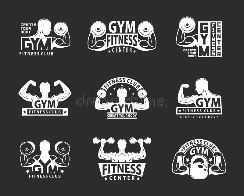 Grupo do emblema do Gym Estilo monocromático ilustração do vetor