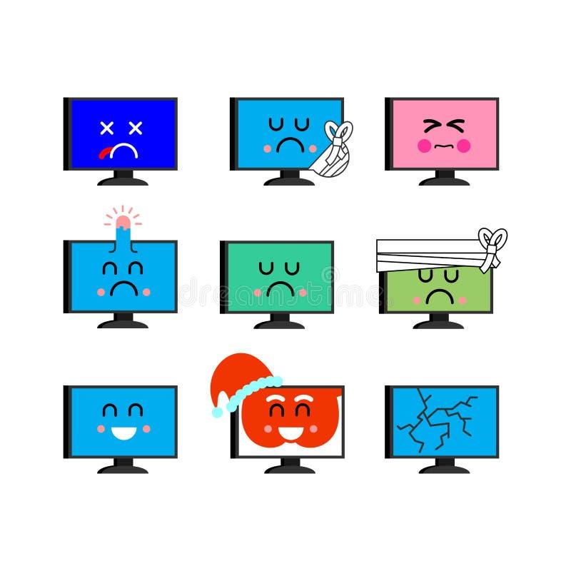 Grupo do emoji do computador Sed e emoção feliz do PC doente e inoperante ANG ilustração do vetor