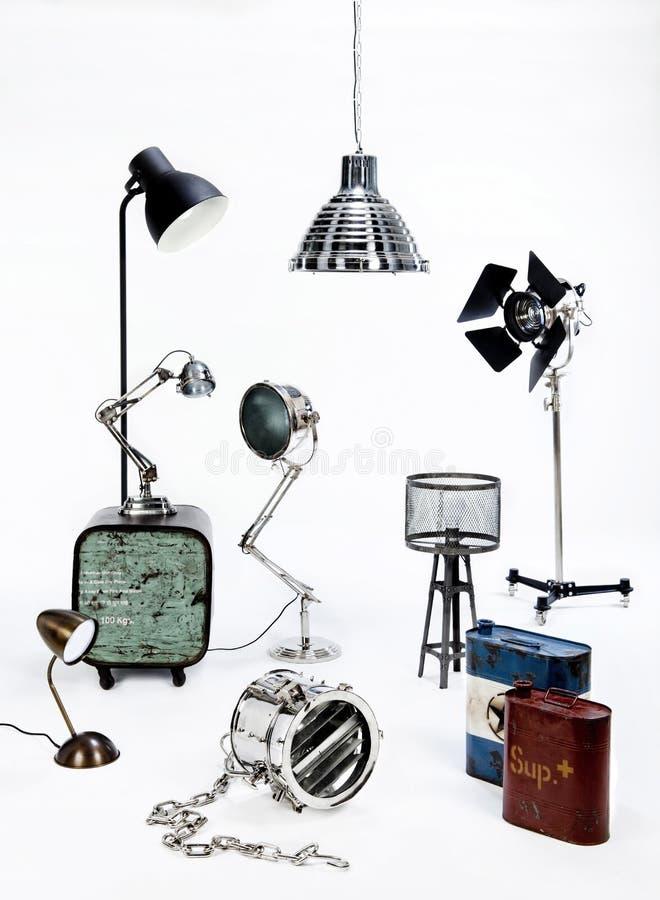 Grupo do equipamento de iluminação no fundo branco imagem de stock royalty free