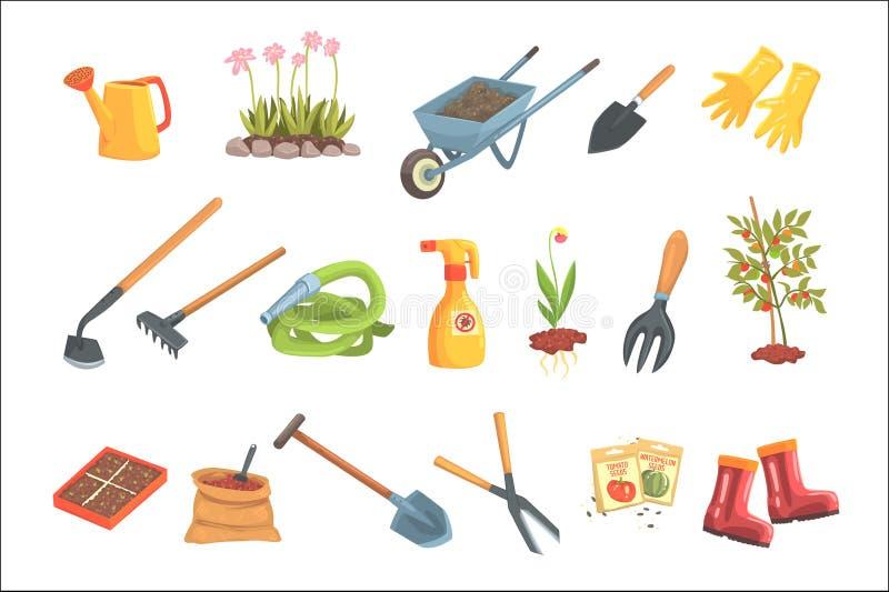 Grupo do equipamento dos jardineiro de objetos necess?rios para jardinar e cultivar ilustra??es isoladas do vetor ilustração do vetor