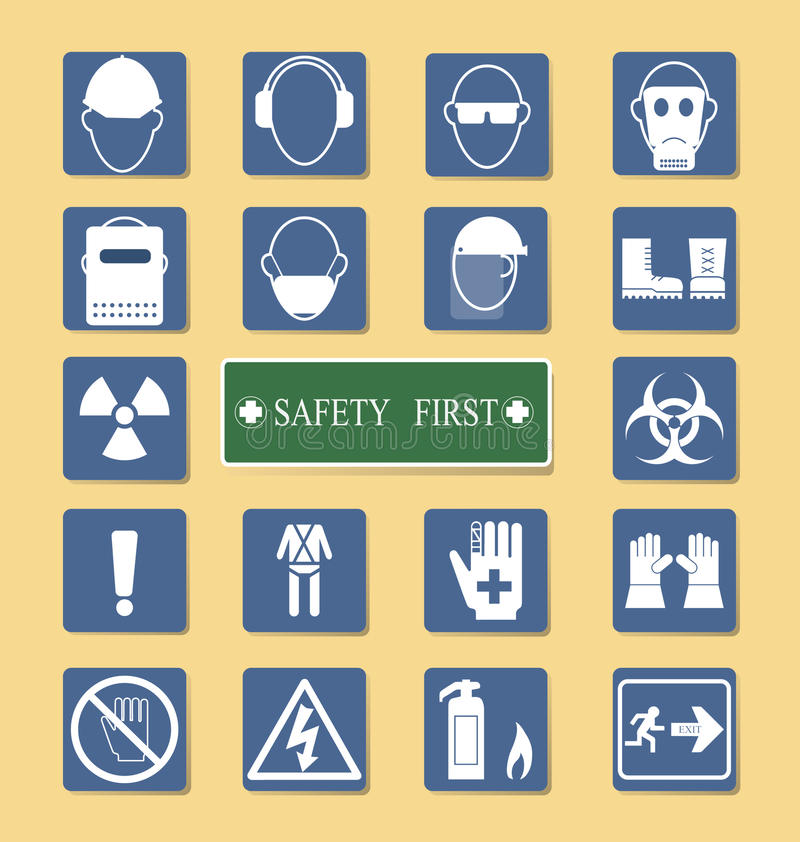 Grupo do equipamento pessoal da proteção (PPE) ilustração royalty free
