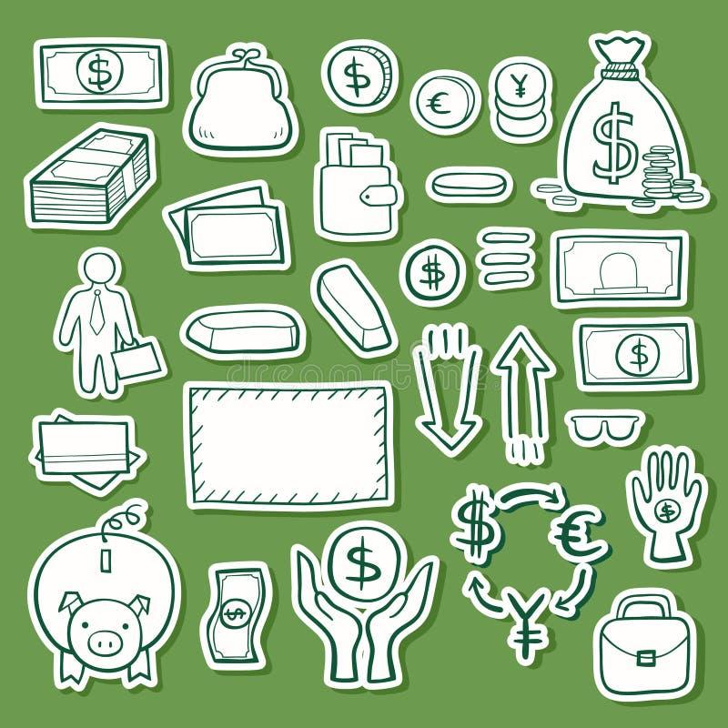 Grupo do esboço do ícone da garatuja do vetor da estratégia empresarial ilustração royalty free