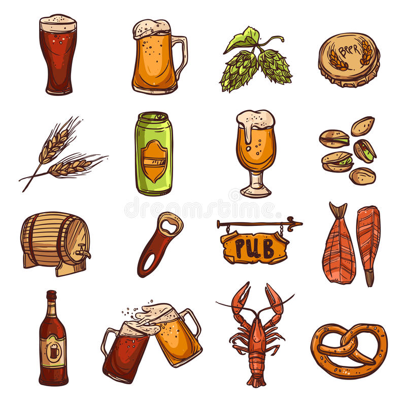 Grupo do esboço da cerveja ilustração royalty free