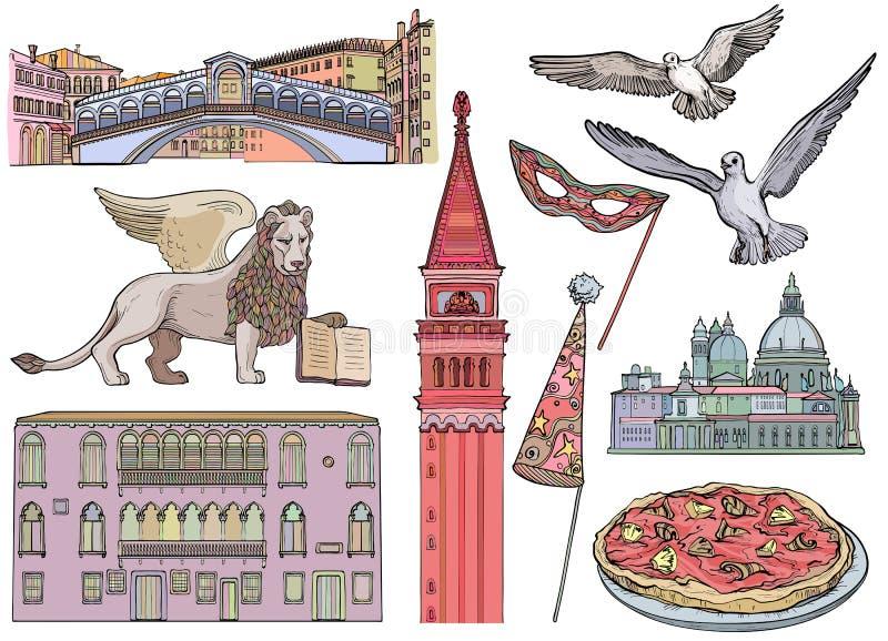 Grupo do esboço das atrações turísticas de Veneza Ilustração do vetor ilustração royalty free