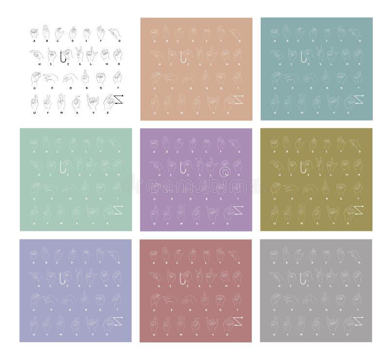 Grupo do esboço de alfabeto da linguagem gestual da mão ilustração royalty free