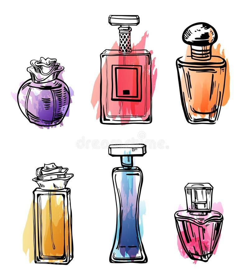 Grupo do esboço do esboço de garrafas de perfumes fêmeas com pontos da cor Ilustração desenhada mão do vetor ilustração stock