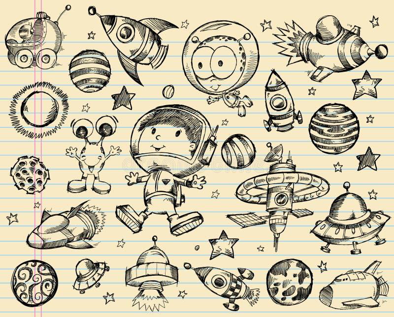 Grupo do esboço do Doodle do espaço ilustração royalty free
