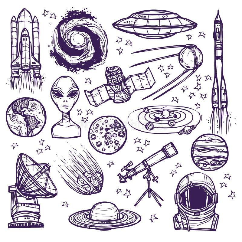 Grupo do esboço do espaço ilustração stock