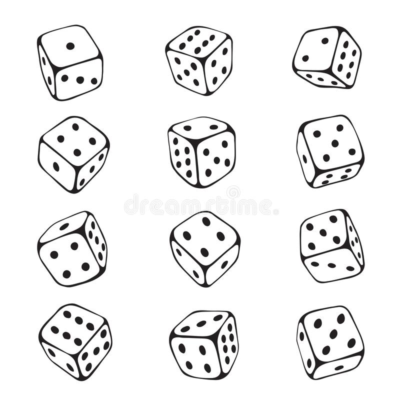 Grupo do esboço dos dados, possibilidade e risco de jogo ilustração royalty free