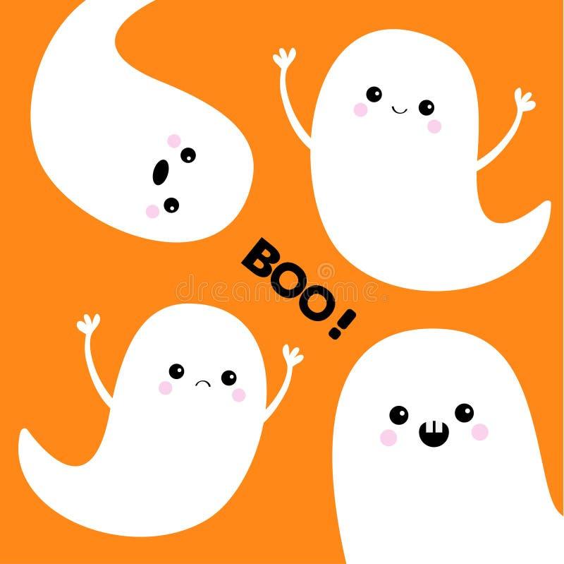 Grupo do espírito do fantasma do voo boo Halloween feliz Quatro fantasmas brancos assustadores ilustração do vetor