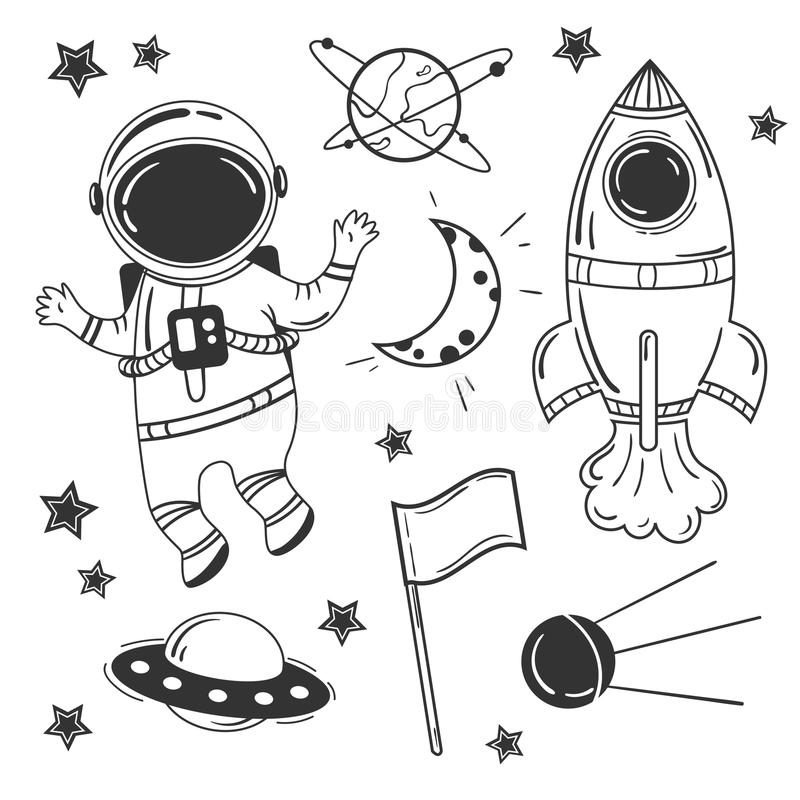 Grupo do espaço dos desenhos animados do astronauta ilustração do vetor