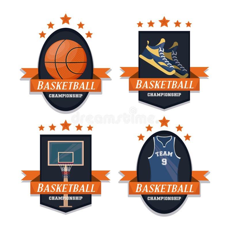 Grupo do esporte do basquetebol de emblemas ilustração royalty free