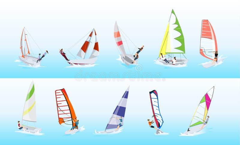 Grupo do esporte do windsurfe ilustração royalty free