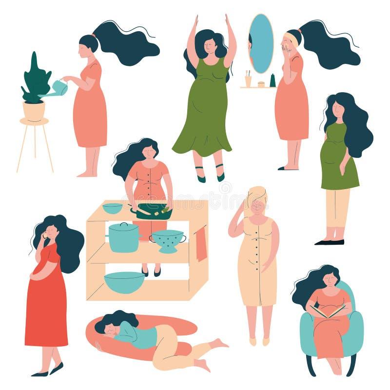 Grupo do estilo de vida da mulher gravida, mãe moreno feliz na gravidez que importa-se com si mesma, livro de leitura, cozinhando ilustração do vetor