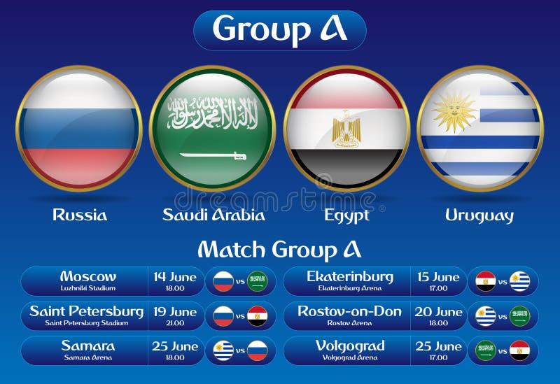 Grupo do fósforo um campeonato Rússia 2018 do futebol ilustração do vetor