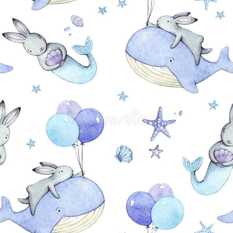 Grupo do feriado de coelhos bonitos da aquarela dos desenhos animados ilustração stock