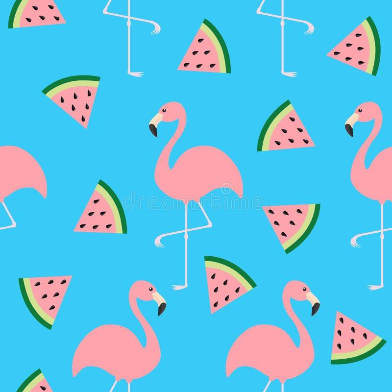 Grupo do flamingo Pássaro tropical exótico do teste padrão sem emenda Sementes da fatia do triângulo da melancia Coleção do anima ilustração stock