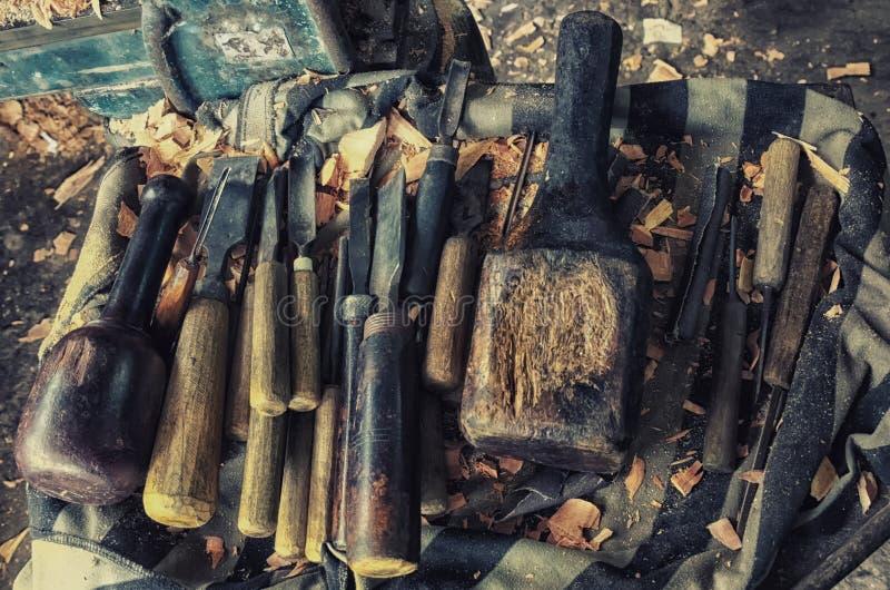 Grupo do formão de madeira imagem de stock