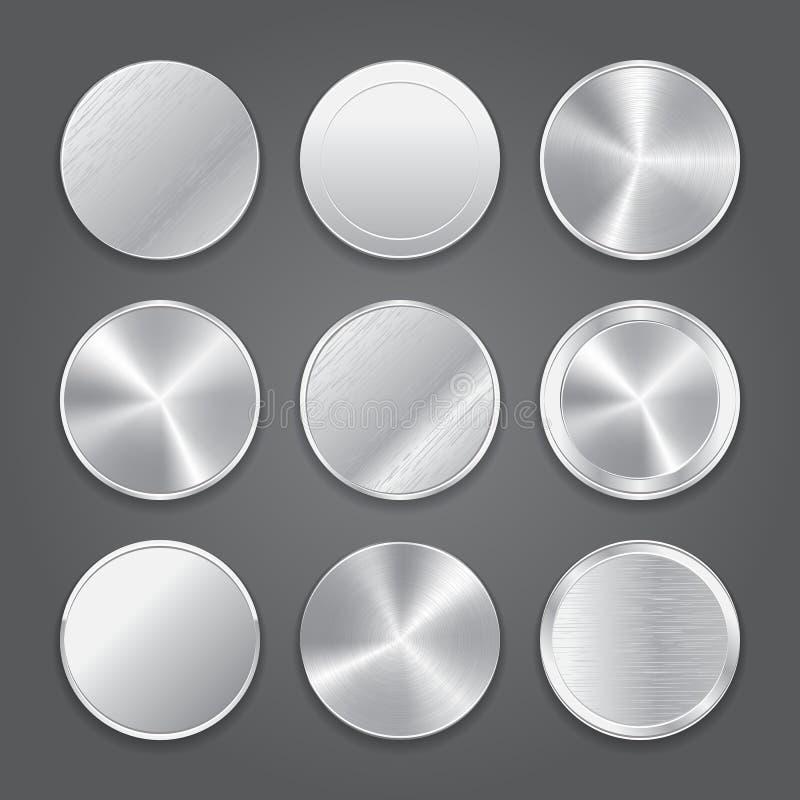 Grupo do fundo dos ícones do App Ícones do botão do metal ilustração do vetor