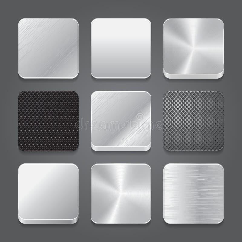 Grupo do fundo dos ícones do App. Ícones do botão do metal. ilustração stock