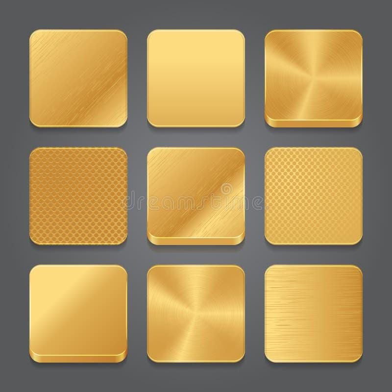 Grupo do fundo dos ícones do App Ícones dourados do botão do metal ilustração stock