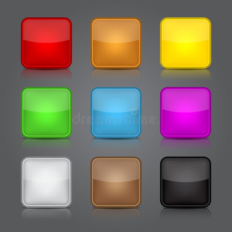 Grupo do fundo dos ícones do App. Ícones lustrosos do botão da Web. ilustração royalty free