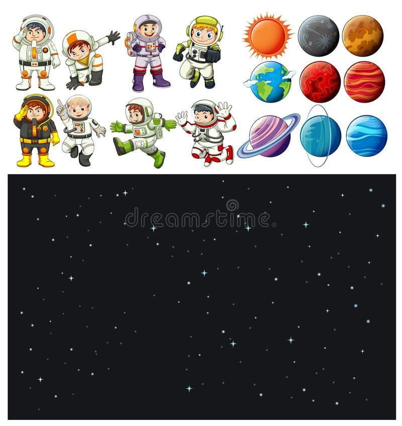 Grupo do fundo e do astronauta do espaço ilustração royalty free