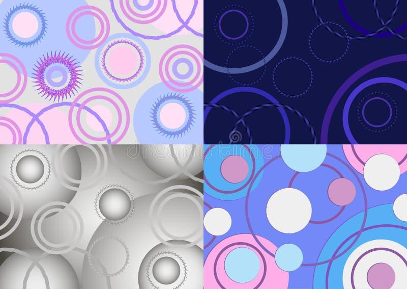 Grupo do fundo quatro azul abstrato com círculos ilustração royalty free