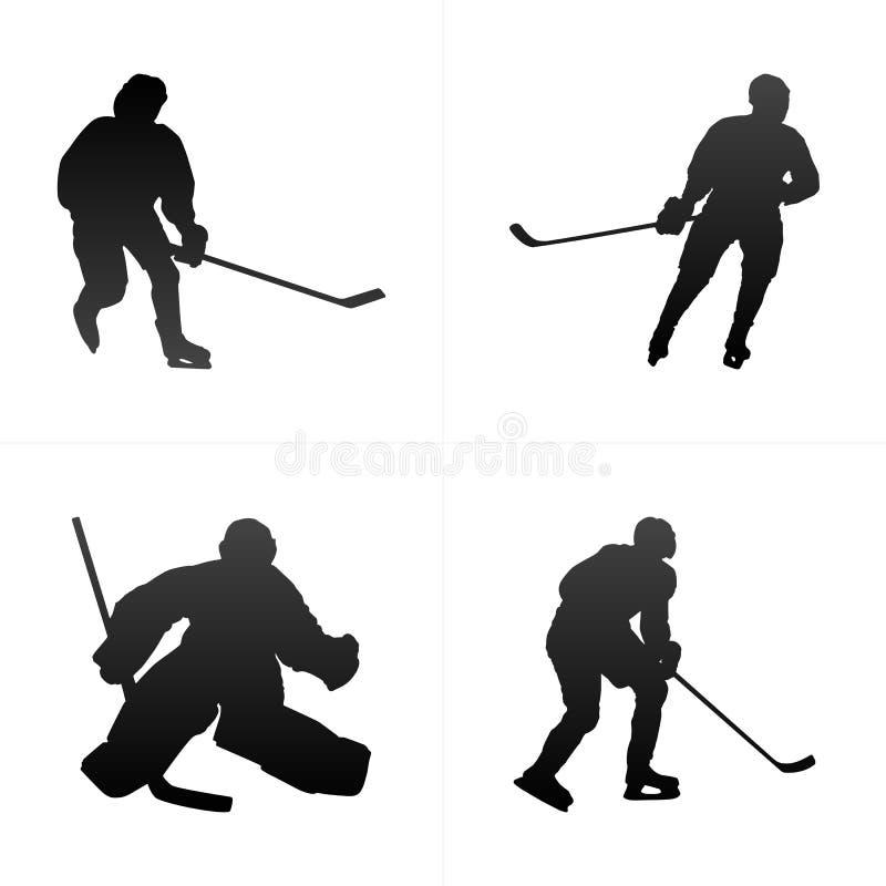 Grupo do fundo do vetor da silhueta do jogador de hóquei Ilustração do vetor ilustração stock