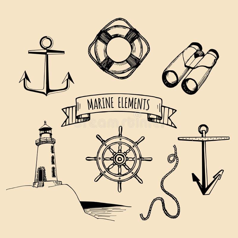 Grupo do fuzileiro naval Elementos náuticos do vetor A mão esboçou ilustrações do mar Coleção marítima do projeto Série de tirage ilustração royalty free
